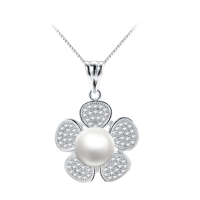 SJ Trendy Jewelry MYA305 Dainty Silver Gold Plated Cubic Zirconia Flower Style Freshwater Pearl Fashion Pendant for Daughter