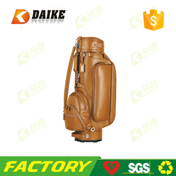 Factory manufacture genuine leather golf bag with high quality
