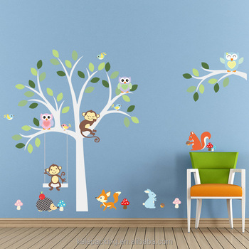 Forest Animal Monkey Owls Fox Rabbits Hedgehog Tree Nursery Wall Stickers  DIY Vinyl Removable Wall Decals