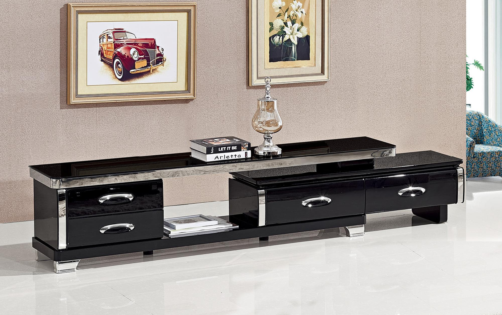 New Model Black Glass Top Mirror Tv Table Stand Modern Design Tv Stand  Living Room Table Furniture - Buy Living Room Table,Tv Table Stand,Tv Stand  ...