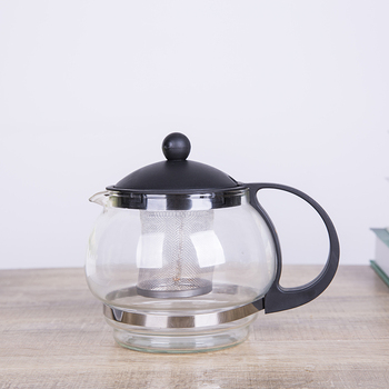 Wholesale plastic handle high borosilicate fire resistant glass teapot