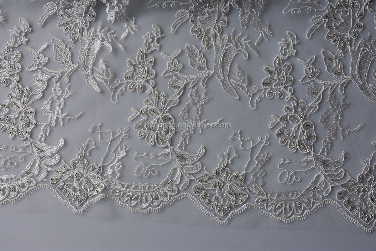 New Design -Wedding dress cord embroidery fabric-with small beeds