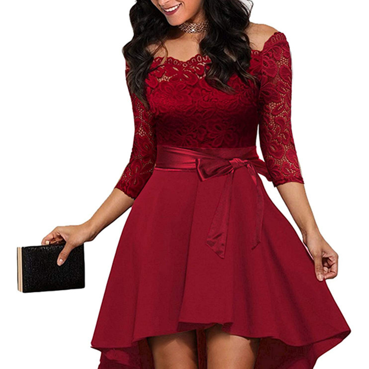 Women's Red Elegant Off the Shoulder Cocktail <strong>Skater</strong> <strong>Lace</strong> <strong>Dress</strong> Ladies Sexy Bridesmaid Adult Evening Party <strong>Dresses</strong> with Bowknot
