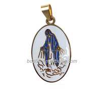 China Wholesale Easter Keepsake Gift Gold Plated Stainless Steel Religious Enamel Our Lady Of Virgin Mary Catholic Charm Jewelry