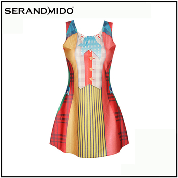 wholesale fashion summer sleeveless women pleated dress