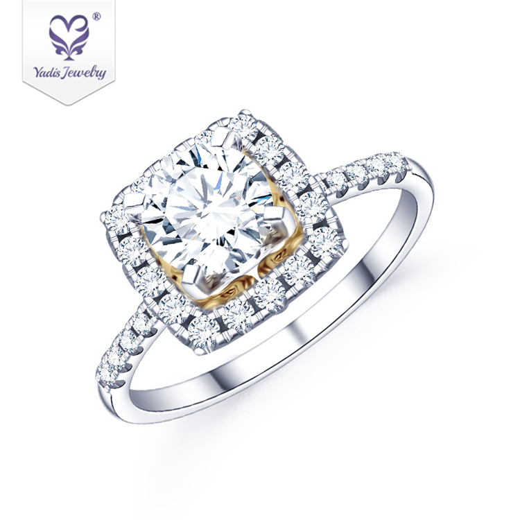 Yadis luxury special Trendy Jewelry 10K white&yellow gold moissanite diamond lady's ring