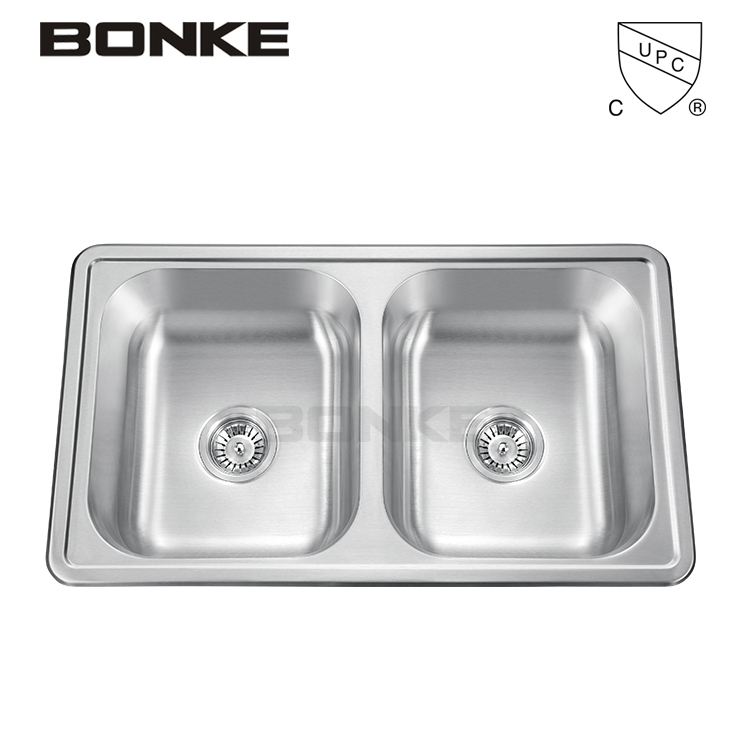 Bonke Kitchen Sink With Topmount Installation 33 Inch Bowl Size Double Equal Basin With Cupc Certificate Buy Bonke Sink With Certificate Topmount