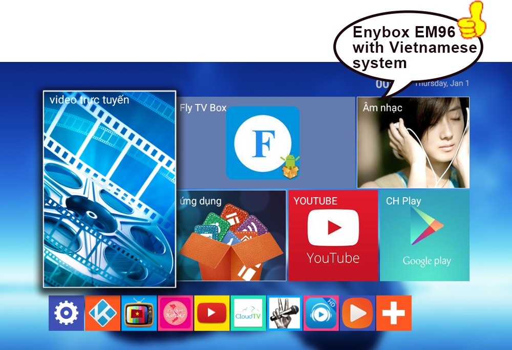 EM96 4K Ultra HD TV channels Quad Core RK3229 IPTV Set Top Box