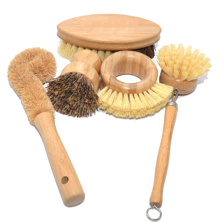 Amazon hot selling Brush cleaning Round bamboo dish pot vegetable scrubbing cleaning Wood kitchen cleaning dish Pot brush set