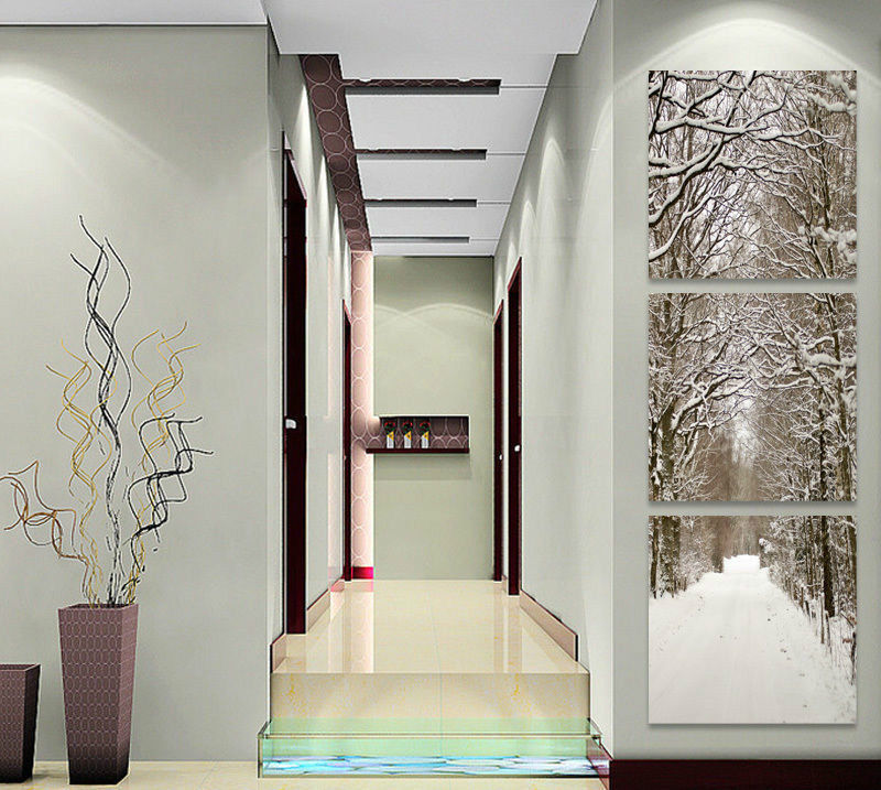 sur la neige et des arbres chemin peinture horloge murale. Black Bedroom Furniture Sets. Home Design Ideas