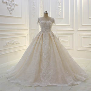 2019 robe mariage Amanda Novias Lace Long Sleeve Weeding Dress Ball Gown
