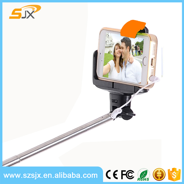 Wired Selfie Stick Z07-7 2 in 1 Monopod Handheld Extendable Built-in Shutter For Iphone 6 IOS Android Smart Phone