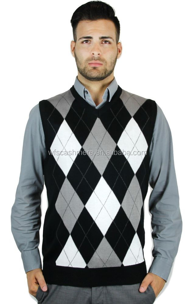 Male Diamond Patterns Knitting Cashmere Vest For Sale - Buy Hand ...