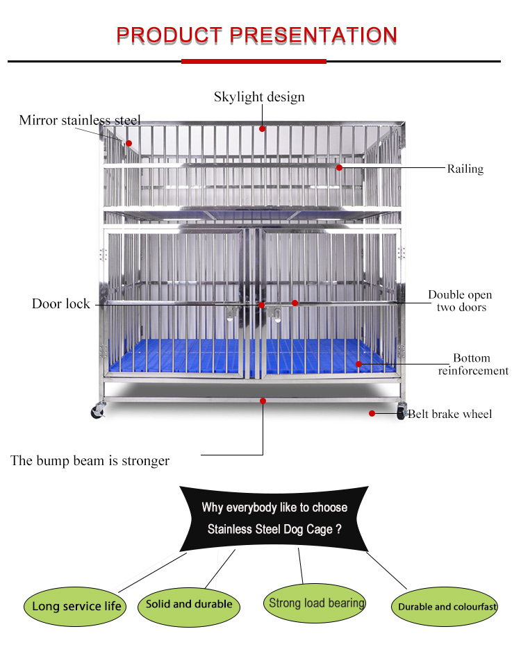 cheap dog cage Child And Mother dog cage with Anti-slip board feeding door