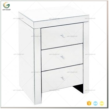 3 Drawer Silver Mirror Nightstand with Crystal Handle
