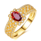 Saudi Arabia yellow gold jewellery wholesale 1.27ct natural gem stone red ruby 18k gold ring