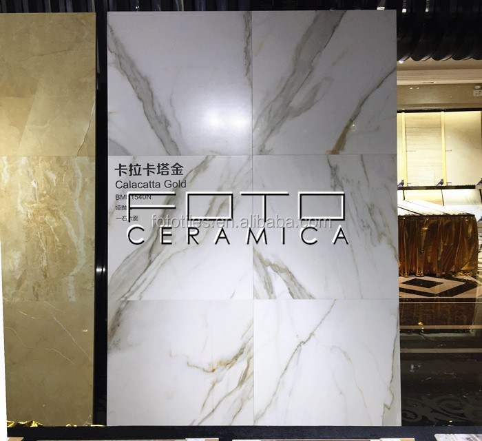 Polished Statuario Extra Calacatta Golden Porcelain Tile