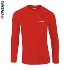 100% cotton mens long sleeve t shirts round neck wholesale custom printing red uniform clothes