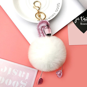 Hot sale colorful flamingo metal pompom fur hairball girls keychain