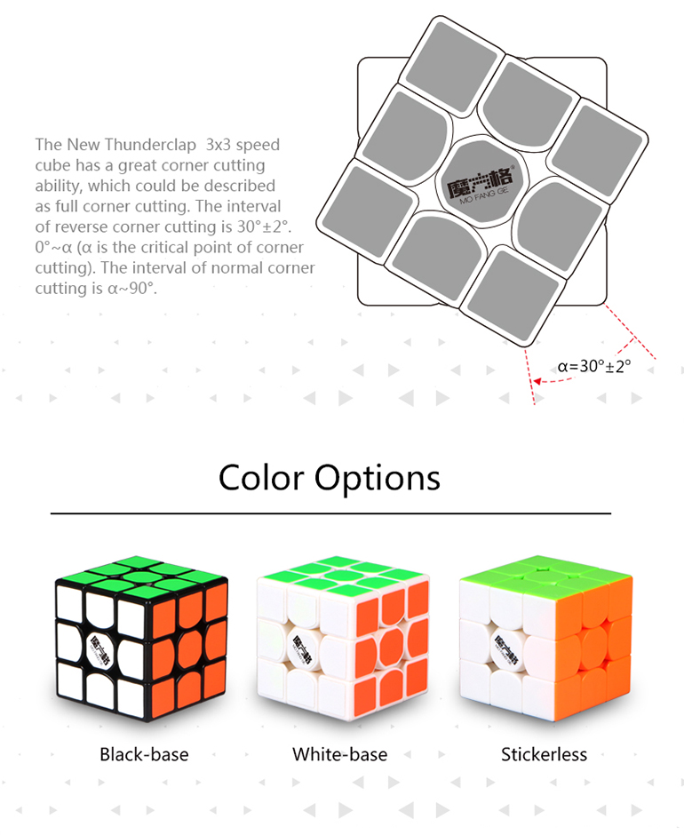 Custom design 56mm 3layer new thunderclap speed cube 3x3x3 with anti-pop ability