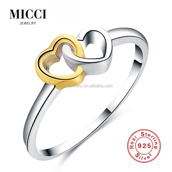 Pretty Unique Sterling Silver Connected Hearts Imprint Love Rings ...