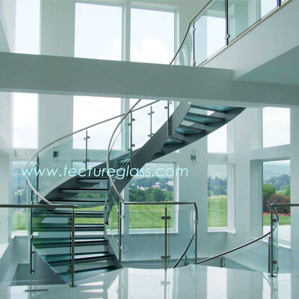 Tecture Small radius Curved/Bent tempered/bent tempered glass for stairs/elevators
