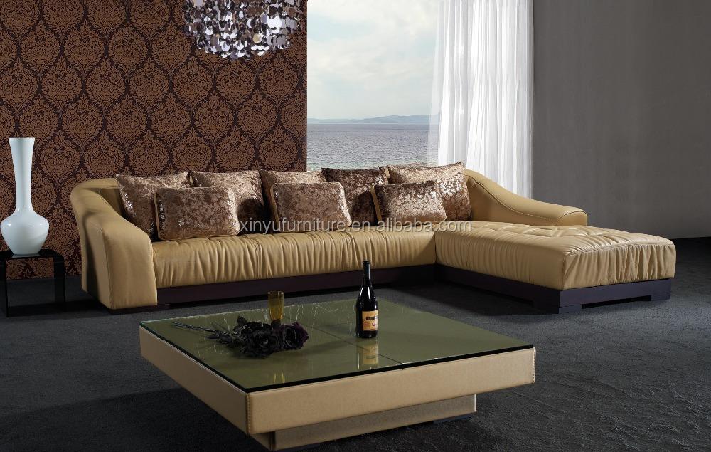 living room furniture l shaped wooden leather corner sofa kw356 buy