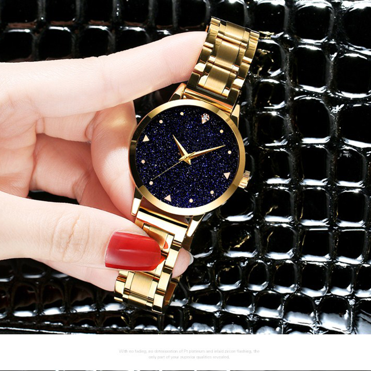 63d2bfbd014 Custom Logo Fastrack Fashion Women Ladies Casual Starry Star Sky Gold Watch  Business Wrist Quartz Watch