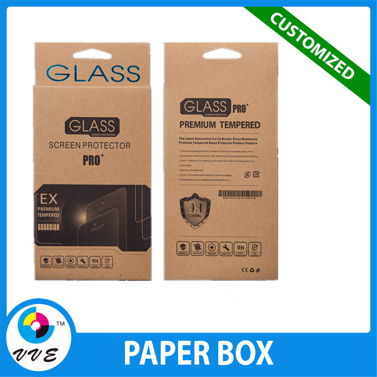 Wholesale tempered glass screen protector kraft paper package, custom screen protector pack
