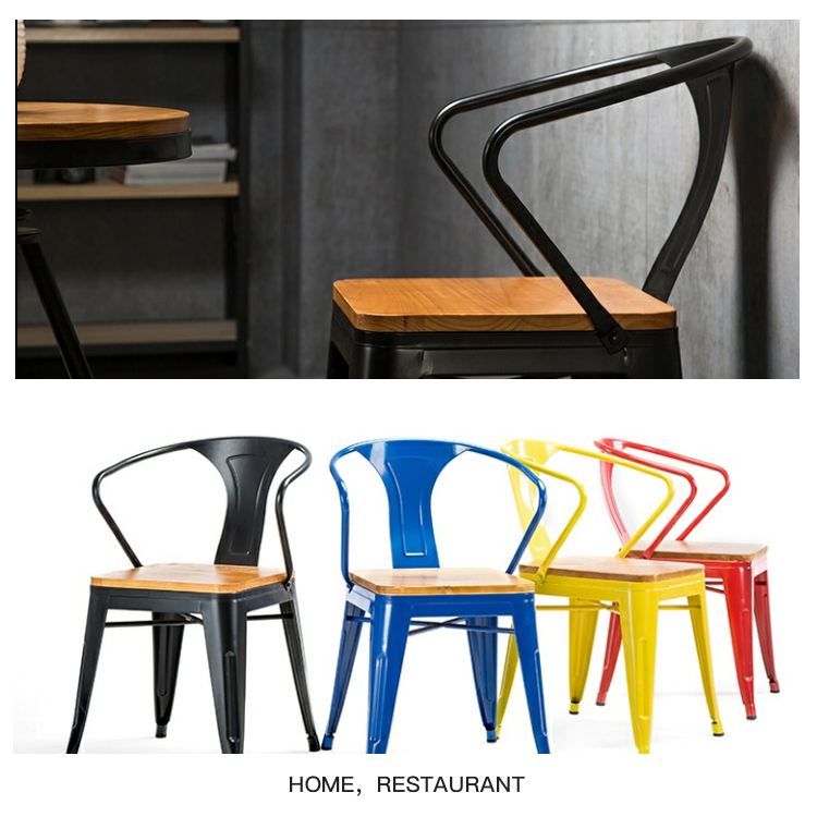 KINGNOD Design Industriel Confortable Design Restaurant En Métal Fer Fauteuil