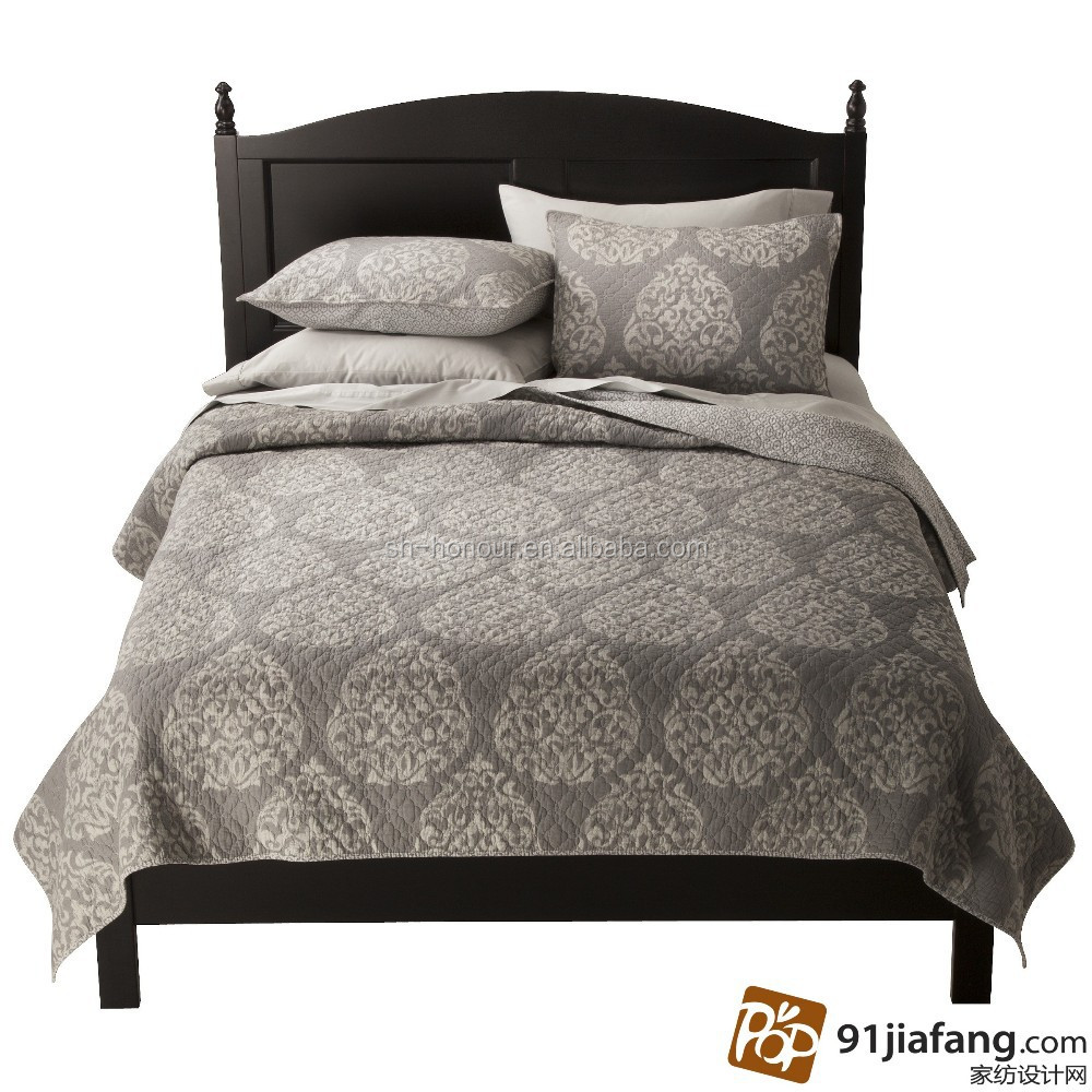 High level grey jacquard fitted turkey printed bedspread set