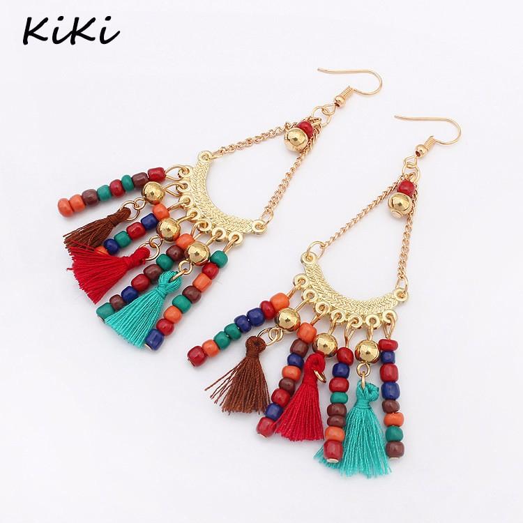 Bohemian Retro Earrings for Women Tassel Bead Drop Dangle Jewelry Gift