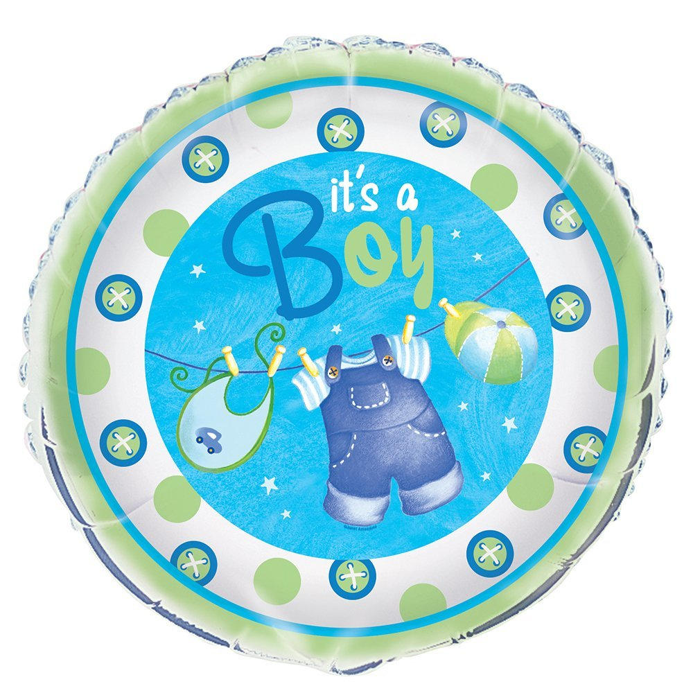 "18"" Foil Blue Clothesline Boy Baby Shower Balloon"