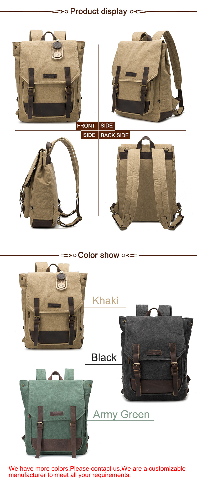 Hot Sales backpack vintage canvas school backpack laptop backpack
