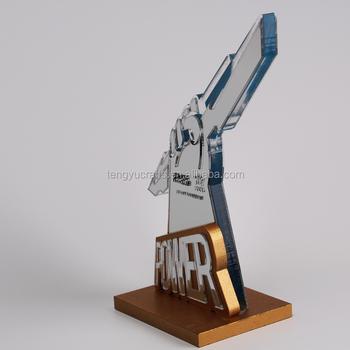 Award Plexiglass Table Storage Display Acrylic Trophy With Wood Stand