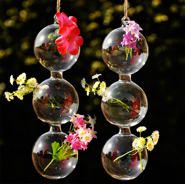Wall hanging flower decoration crystal beads vase