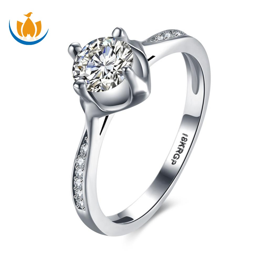 Latest Simple Design 18k White Gold Diamond Engagement Wedding Rings