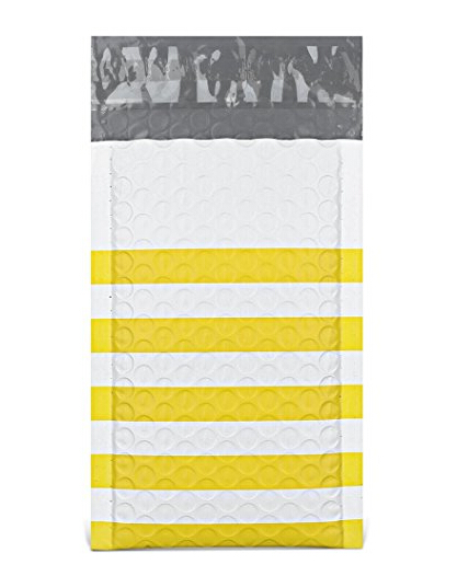 Poly Bubble Mailers 4x8 Inches Padded Envelopes #000 Yellow Stripe