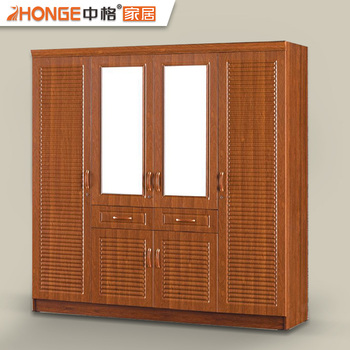 Home furniture pvc finished wood almirah designs 4 door cloth ...