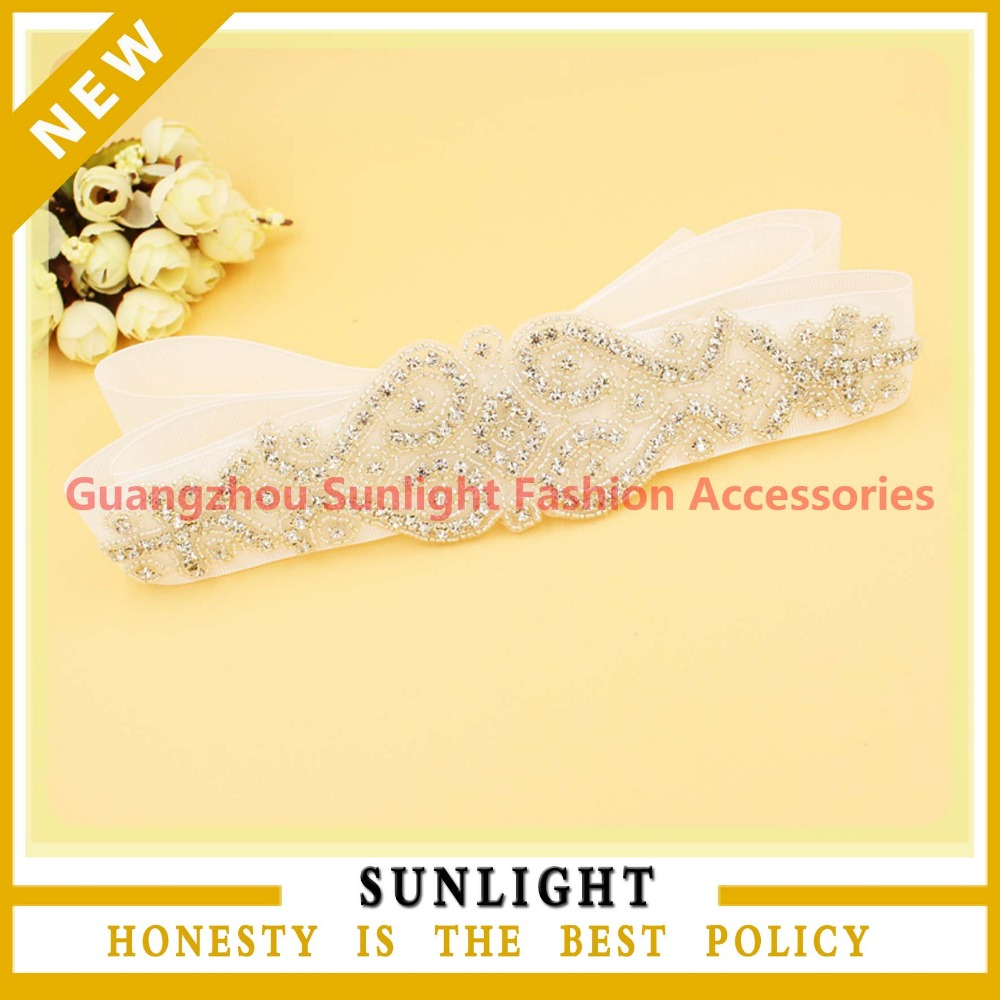 Wholesale Factory Price embroidered beaded stone applique for bridal sash belts