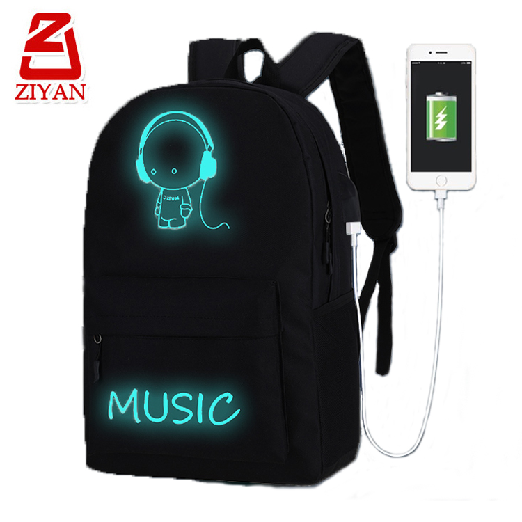 Cute music earphone latest trendy school bags for teenagers, high school student travel laptop luminous backpack with usb port