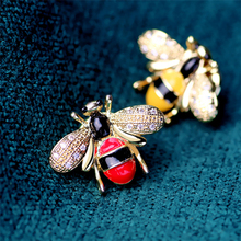 Cute Rhinestone Crystal Red Yellow Bee Animal Brooch Real Gold Plated Enamel Colorful Bee Brooch
