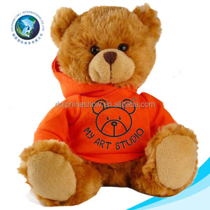 Newest cute custom printed LOGO soft kids toy stuffed plush teddy bear toys t shirts LOW MOQ wholesale bear clothes