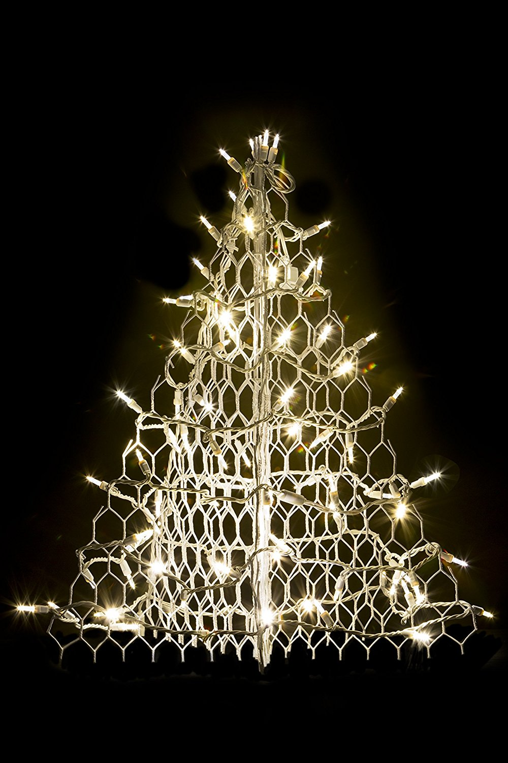 2' Crab Pot Christmas Tree with White Wire and 80 Clear LED Lights