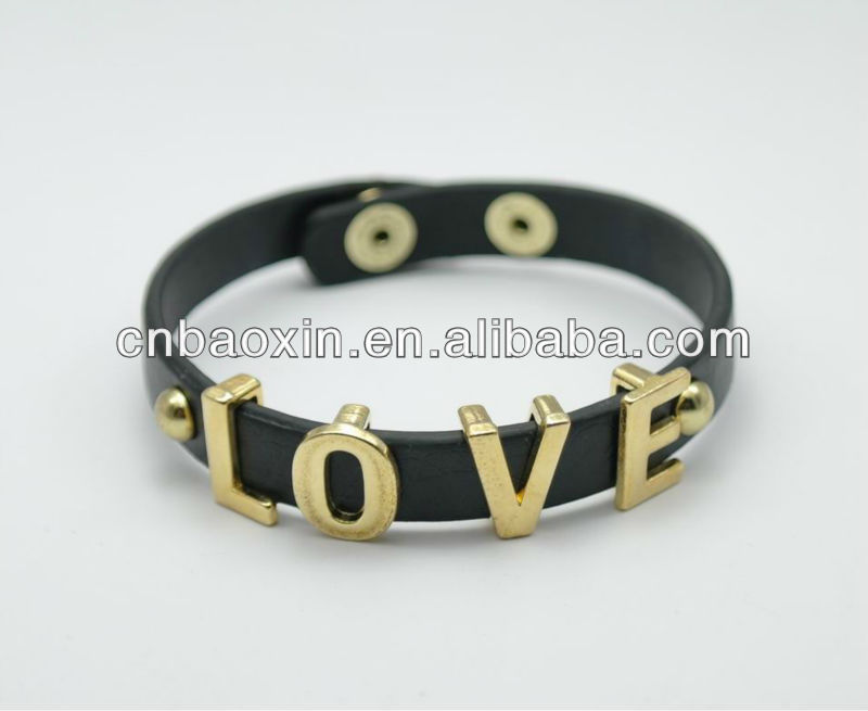 Wholesale Cheap Alloy Metal Charms Thin Faux Leather Bracelet