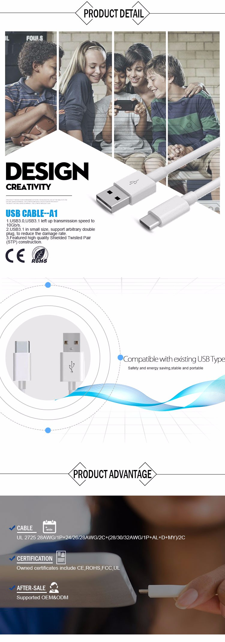 fast charging connector 2.0 usb A Male fast chargeing cable Type C cable phone adapter