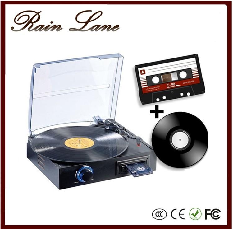 Rain Lane Hot Sale 3 Speed Retro Portable Phonograph Hifi Lp Turntables  With Cassette Record Player