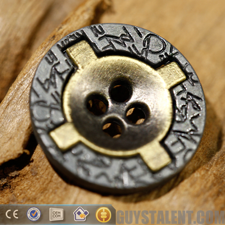 Professional custom electroplated copper alloy castings jeans button