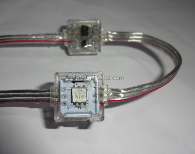 50pcs DC12V WS2811 led 5050 SMD pixel node;transparent wire;IP68 rated;epoxy resin filled