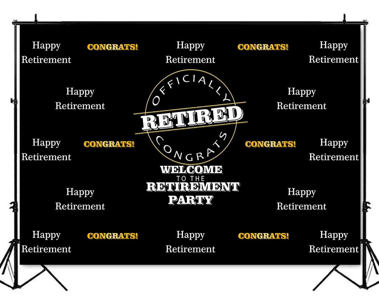 Mehofoto Happy Retirement Backdrop Officially Congrats Black Photography Background 7x5ft Happy Retirement Themed Party Decoration Backdrops Banner